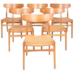 Set of Six Midcentury CH 23 Side Chairs in Oak by Wegner Danish Design, 1950s