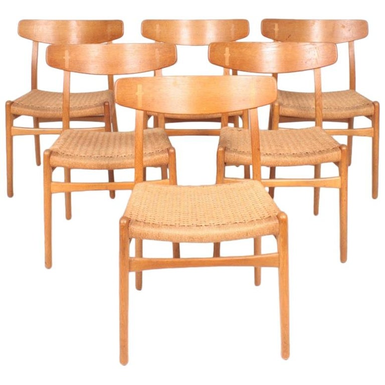 Set of Six Midcentury CH 23 Side Chairs in Oak by Wegner Danish Design, 1950s For Sale