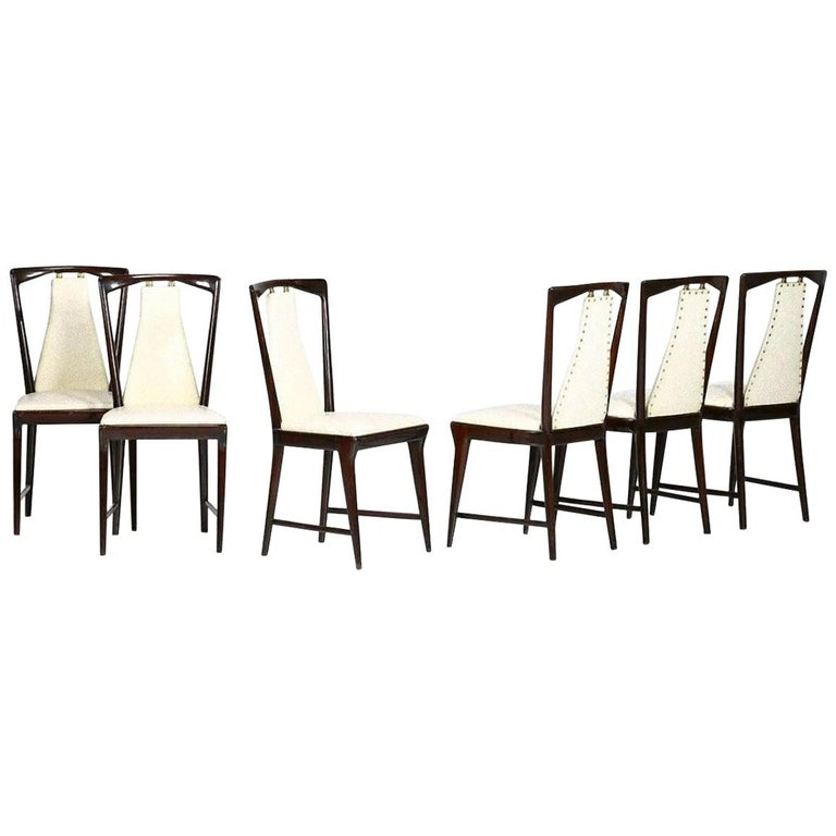 Set of Six Midcentury Chairs by Osvaldo Borsani 'attr.' For Sale