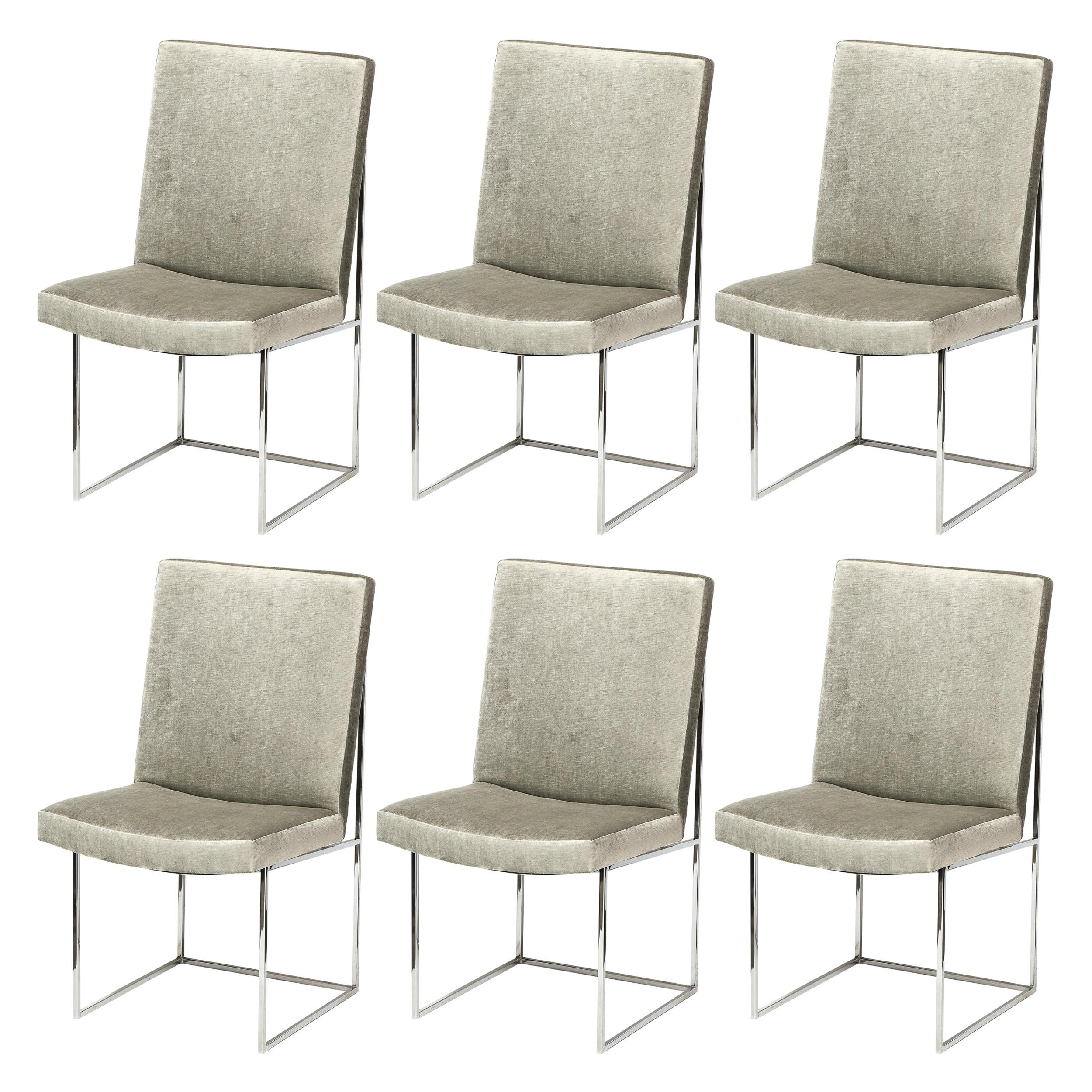 Set of Six Mid Century Chrome & Platinum Velvet Dining Chairs by Milo Baughman