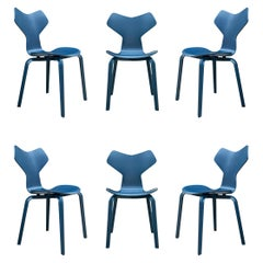 Set of Six Mid Century Danish Modern Arne Jacobsen Grand Prix Dining Chairs Set