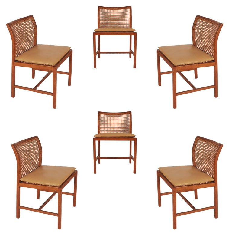 Set of Six Midcentury Danish Modern Cane Dining Chairs by Ditte & Adrian Heath 2