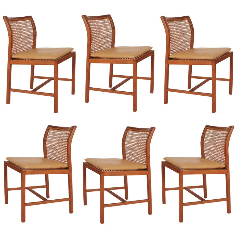 Set of Six Midcentury Danish Modern Cane Dining Chairs by Ditte & Adrian Heath