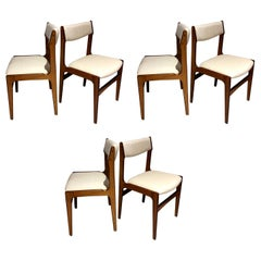 Set of Six Midcentury Danish Wooden Dining Chairs with White Covers