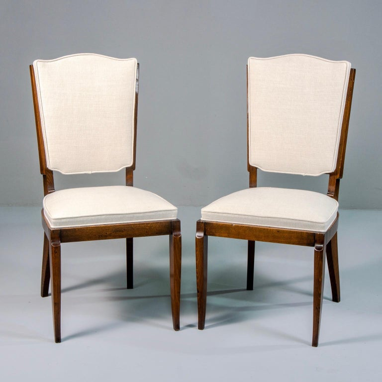 Mid-Century Modern Set of Six Midcentury French Polished Beech Frame Chairs with New Upholstery