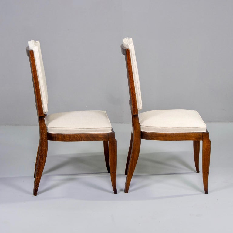 Set of Six Midcentury French Polished Beech Frame Chairs with New Upholstery In Good Condition In Troy, MI