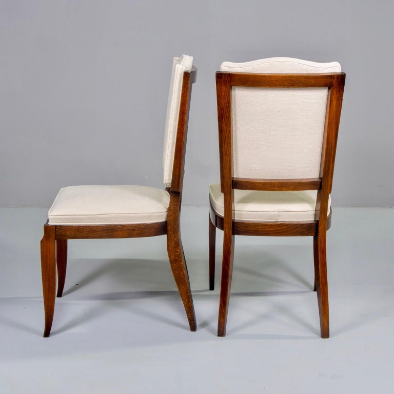 20th Century Set of Six Midcentury French Polished Beech Frame Chairs with New Upholstery