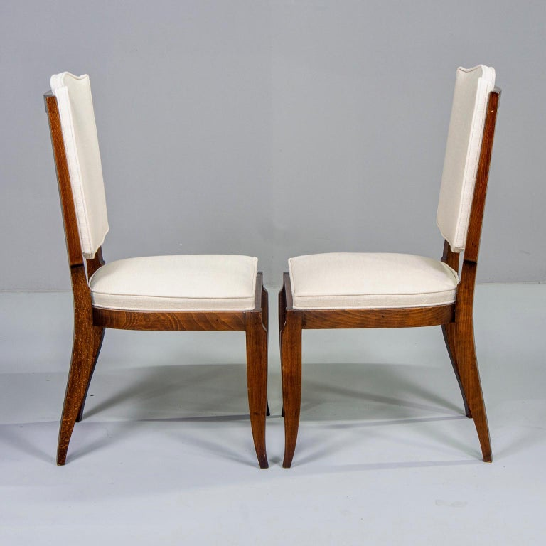 Set of Six Midcentury French Polished Beech Frame Chairs with New Upholstery 1