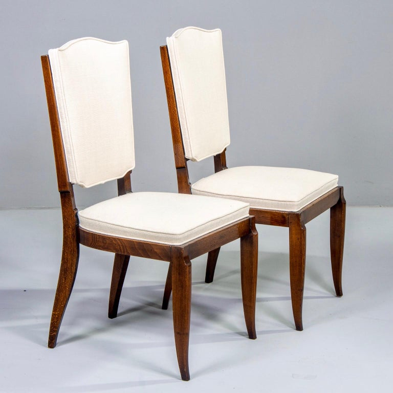 Set of Six Midcentury French Polished Beech Frame Chairs with New Upholstery 2