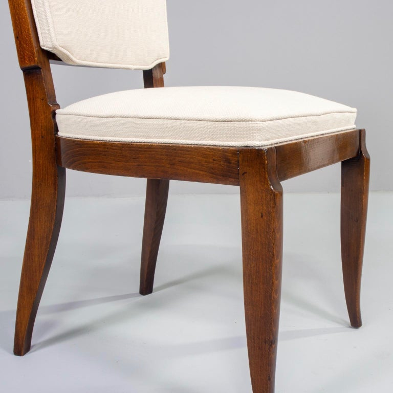 Set of Six Midcentury French Polished Beech Frame Chairs with New Upholstery 3