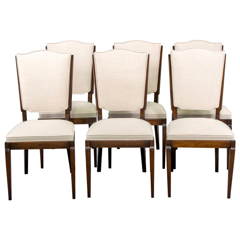 Set of Six Midcentury French Polished Beech Frame Chairs with New Upholstery
