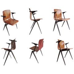 Set of Six Midcentury Industrial S22 Chairs with Armrests, Plywood Steel, 1960s