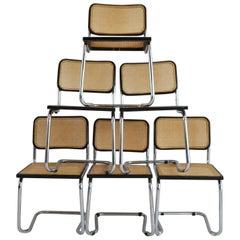 Set of Six Midcentury Italian Cesca Marcel Breuer B32 Stackable Modern Chairs