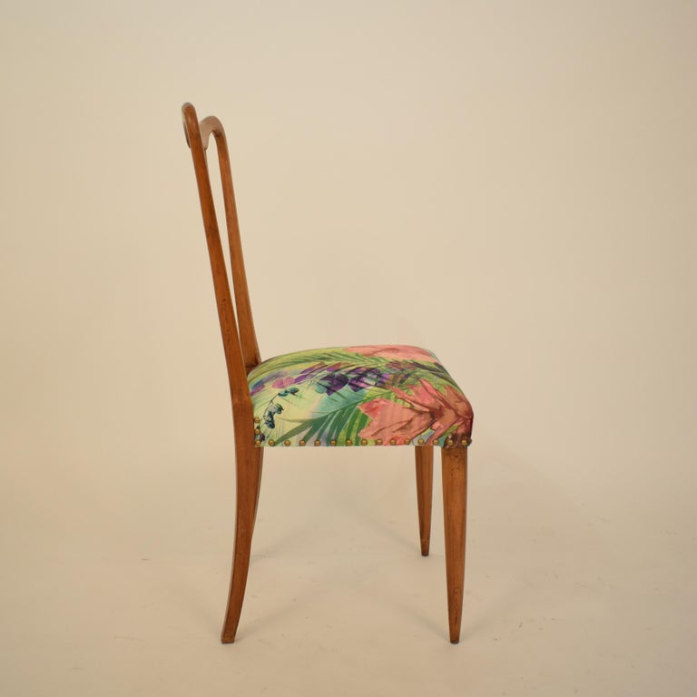 Set of Six Midcentury Italian Dining Chairs Attributed to Osvaldo Borsani, 1940 For Sale 8