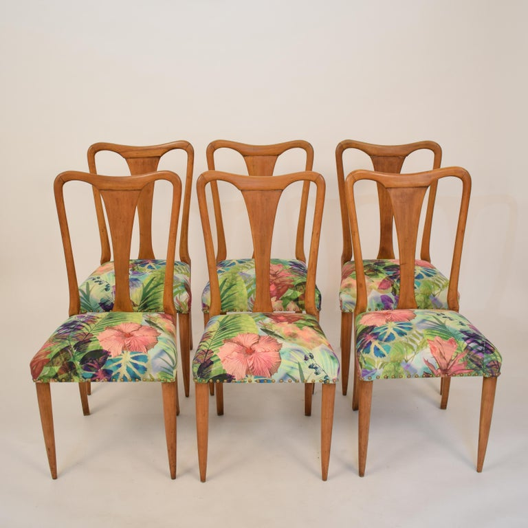 Set of Six Midcentury Italian Dining Chairs Attributed to Osvaldo Borsani, 1940 In Good Condition For Sale In Berlin, DE