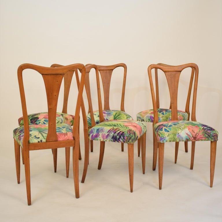 Fabric Set of Six Midcentury Italian Dining Chairs Attributed to Osvaldo Borsani, 1940 For Sale