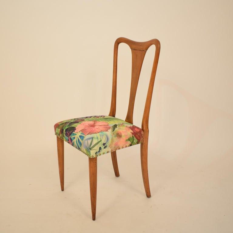 Set of Six Midcentury Italian Dining Chairs Attributed to Osvaldo Borsani, 1940 For Sale 1