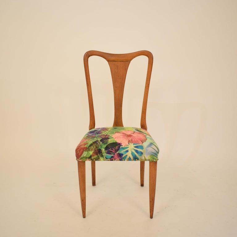 Set of Six Midcentury Italian Dining Chairs Attributed to Osvaldo Borsani, 1940 For Sale 3