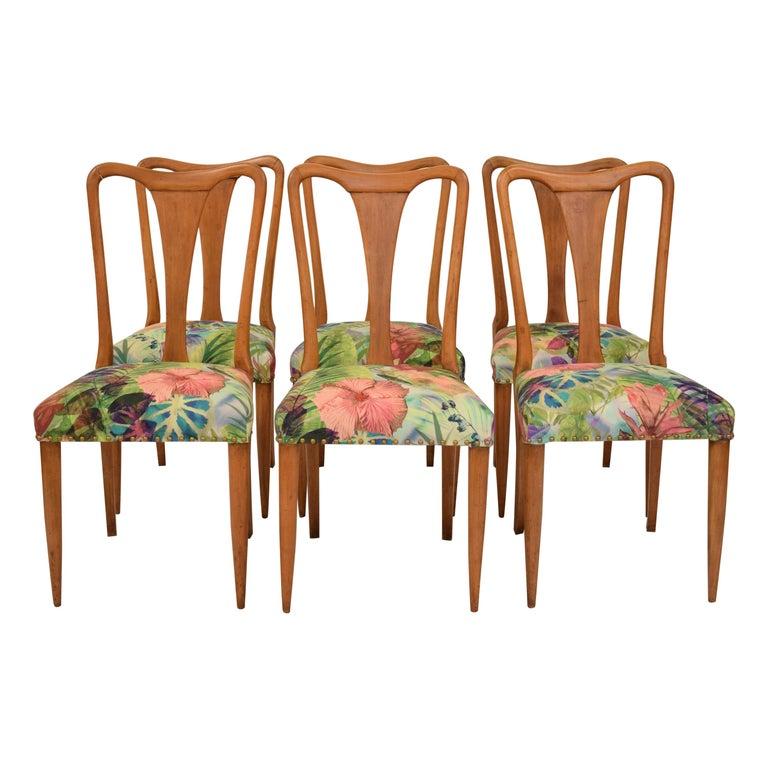 Set of Six Midcentury Italian Dining Chairs Attributed to Osvaldo Borsani, 1940 For Sale