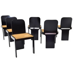 Set of Six Mid Century Italian Modern Chairs by P. Molinari for Pozzi Milano 70s