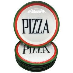 Set of Six Midcentury Italian Pizza Plates