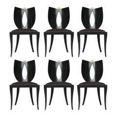 Set of Six Midcentury Italian Postmodern Black Lacquer Armless Dining Chairs