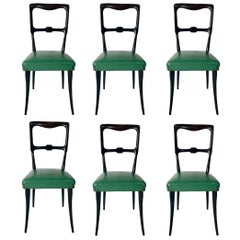 Set of Six Mid Century Lacquered Dining Chairs Attributed to Paolo Buffa