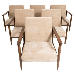 Set of Six Mid-Century Modern Beige Armchairs, Edmund Homa, 1960s, Poland