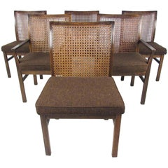 Set of Six Mid-Century Modern Cane Back Dining Chairs by Lane