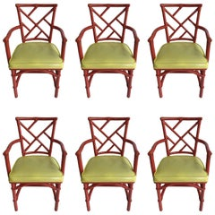 Set of Six Mid-Century Modern Chinese Chippendale DIA Bamboo Red Chairs