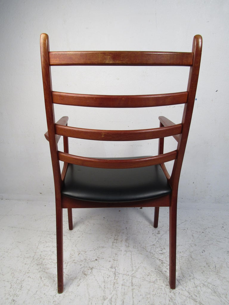 Faux Leather Set of Six Mid-Century Modern Danish K.S. Dining Chairs For Sale
