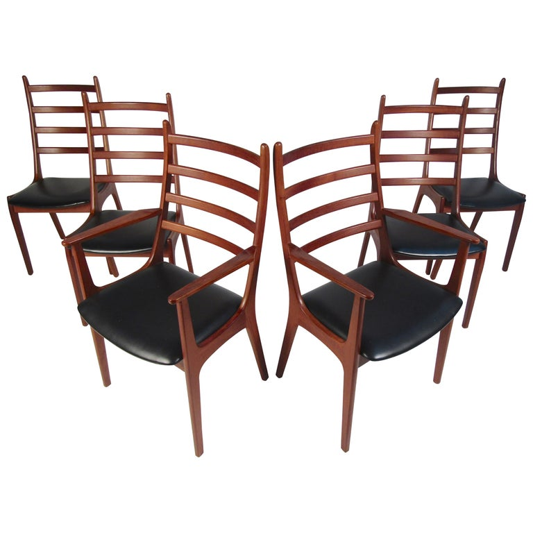 Set of Six Mid-Century Modern Danish K.S. Dining Chairs For Sale