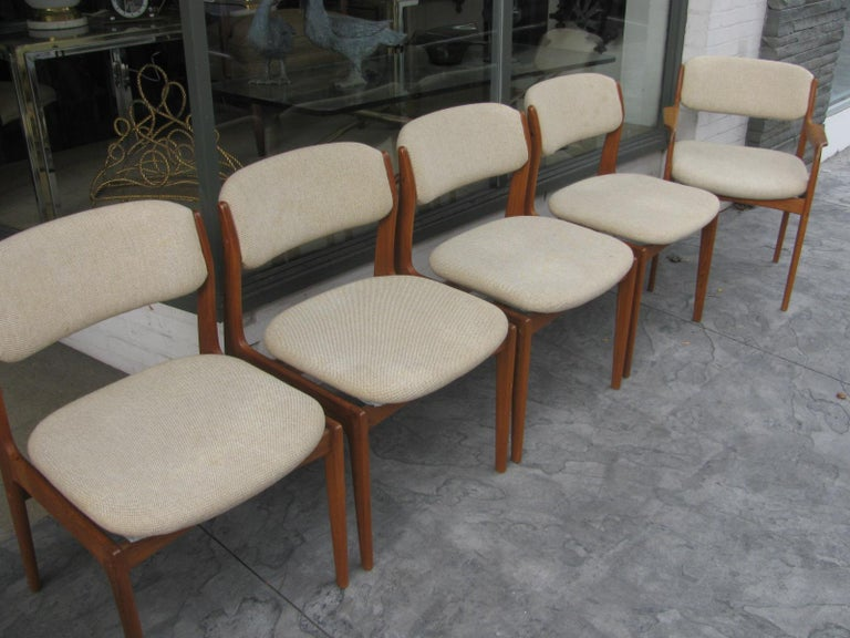 Set of Six Mid-Century Modern Danish Teak Dining Chairs Benny Linden In Good Condition In Port Jervis, NY