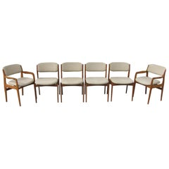 Set of Six Mid-Century Modern Danish Teak Dining Chairs Benny Linden