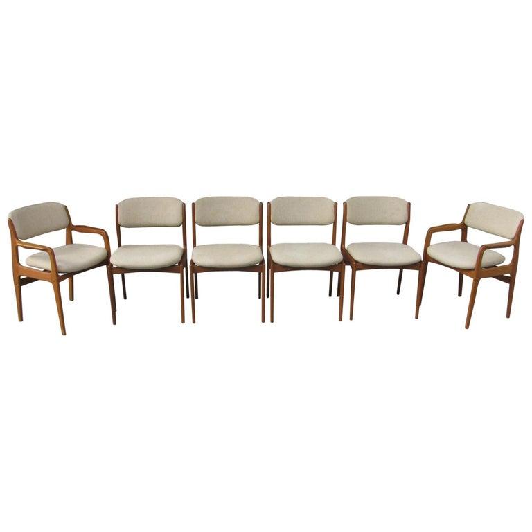Set of Six Mid-Century Modern Danish Teak Dining Chairs Benny Linden