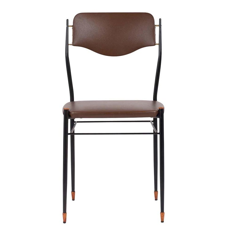 Italian Set of Six Mid-Century Modern Metal Dining Chairs For Sale