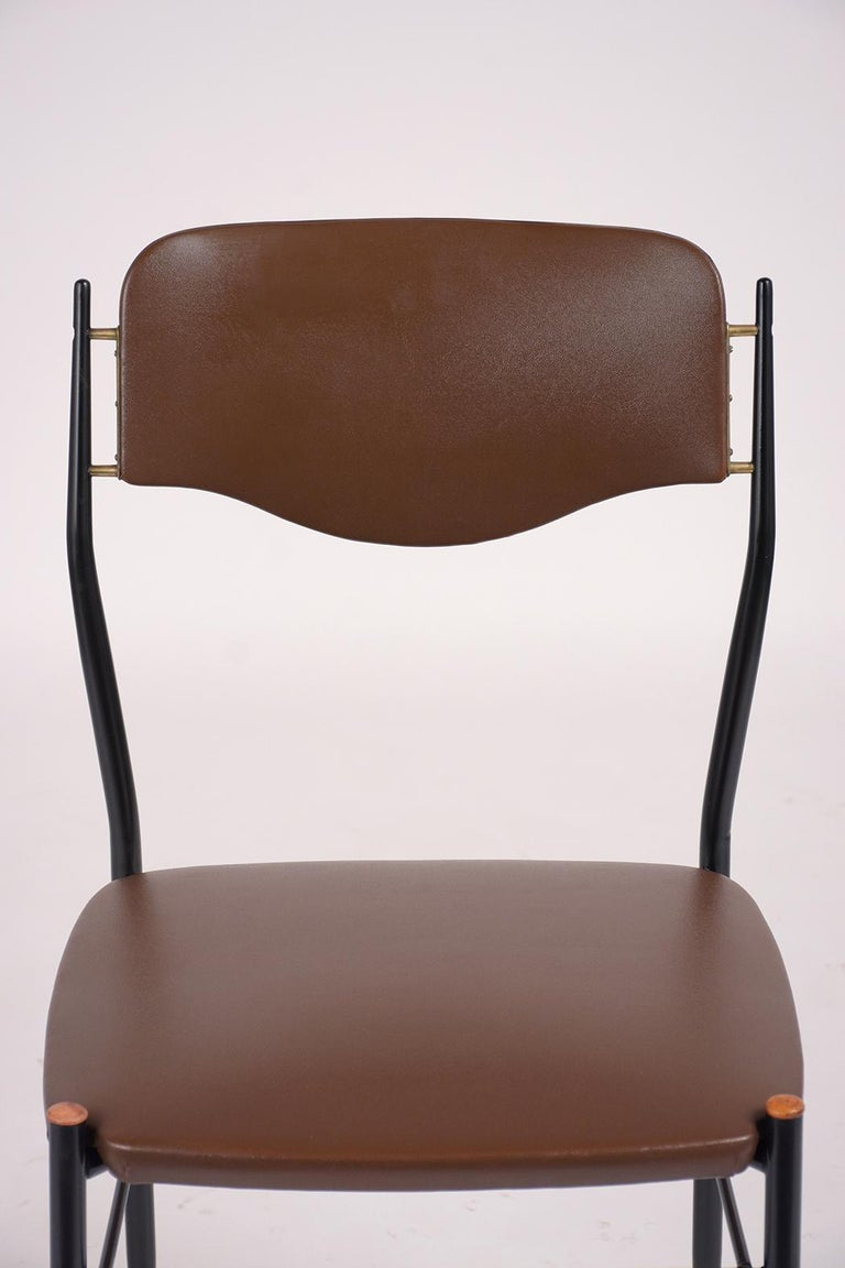 Carved Set of Six Mid-Century Modern Metal Dining Chairs For Sale