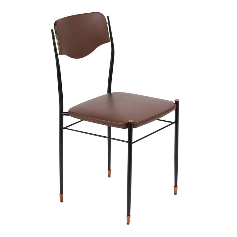 Set of Six Mid-Century Modern Metal Dining Chairs In Good Condition For Sale In Los Angeles, CA