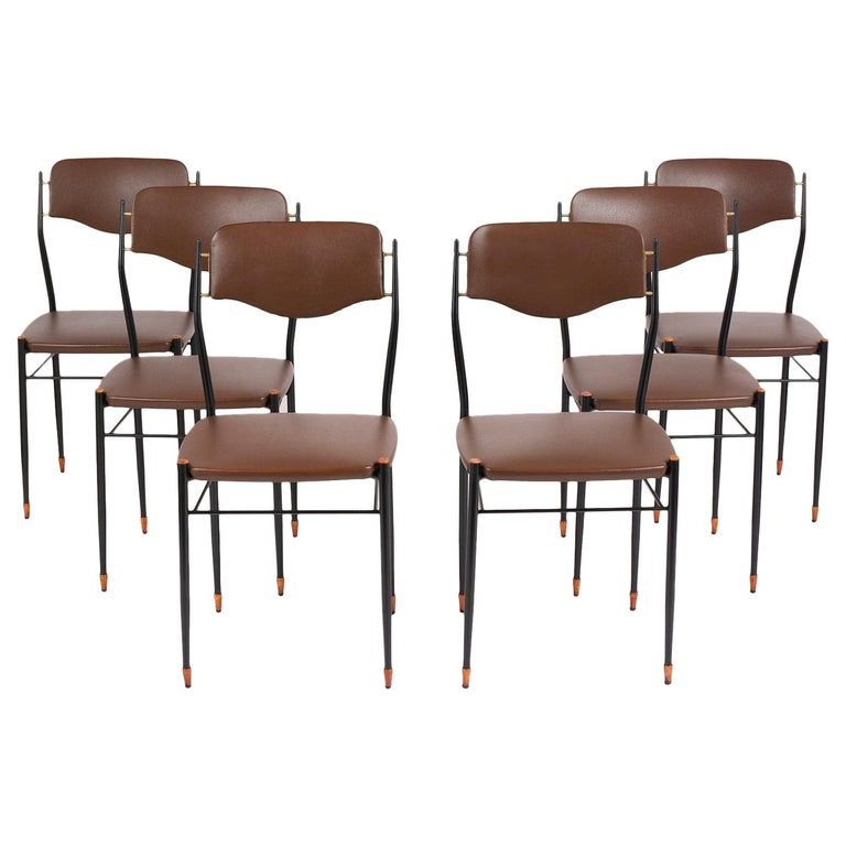 Set of Six Mid-Century Modern Metal Dining Chairs For Sale