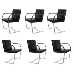 Set of Six Mid-Century Modern Flat Bar Brno Armchair Dining Chairs for Knoll