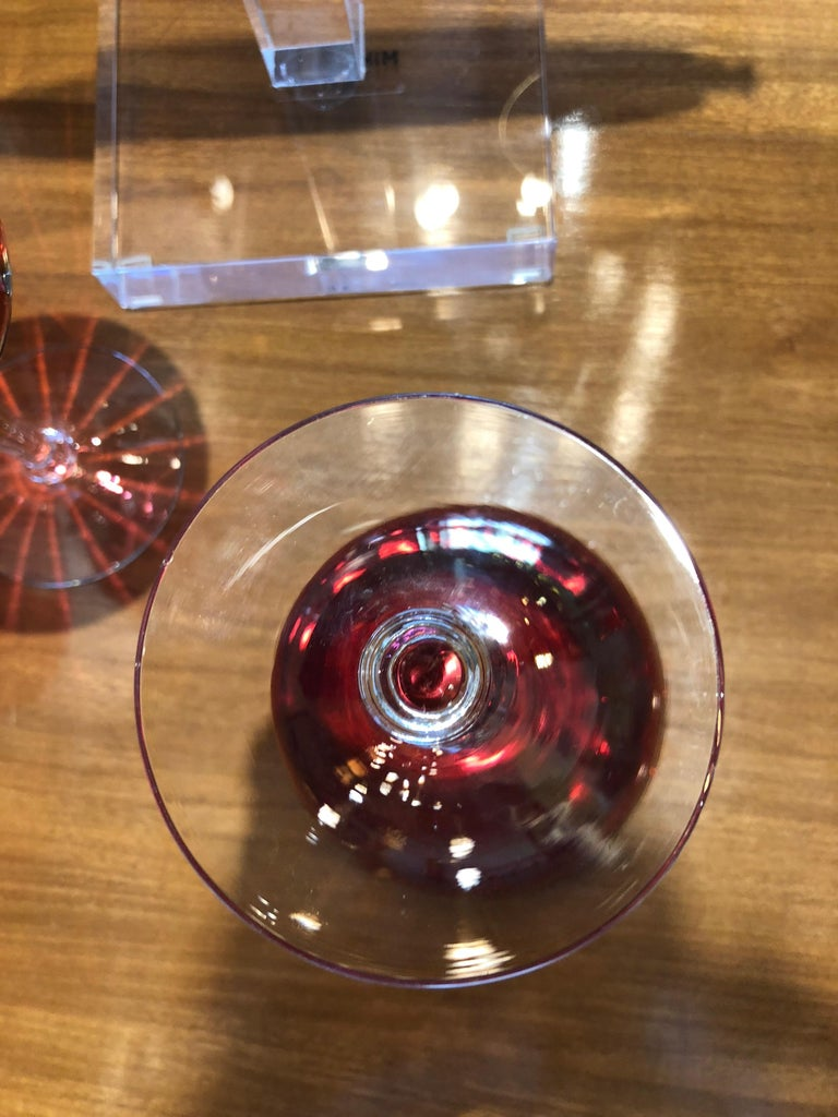 Set of 6 French Ruby Red Crystal with Clear Stem Champagne Coupe Glasses For Sale 6