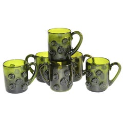 Set of Six Mid-Century Modern Glass Espresso Cups with Prunt Details