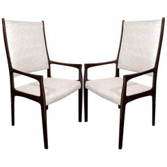 Set of Six Mid-Century Modern High Back Dining Chairs in the Style of Gio Ponti
