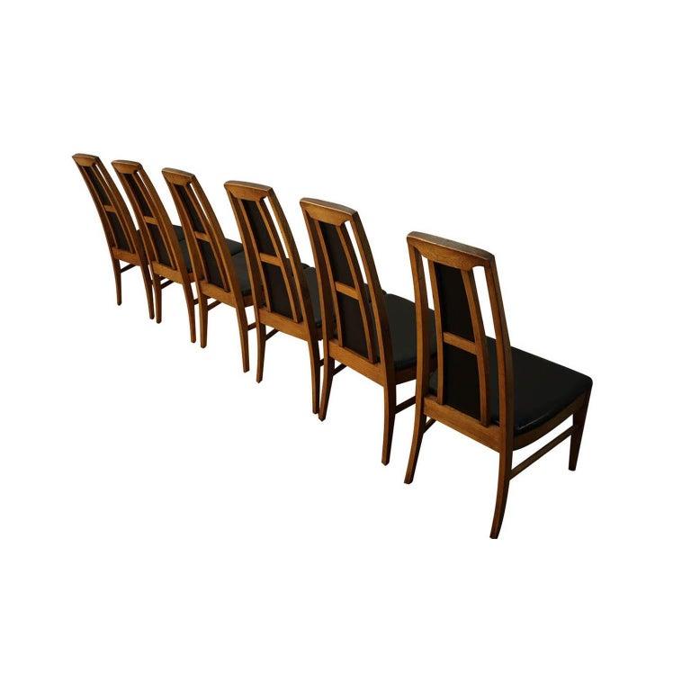 American Set of Six Mid-Century Modern High Back Walnut Dining Chairs