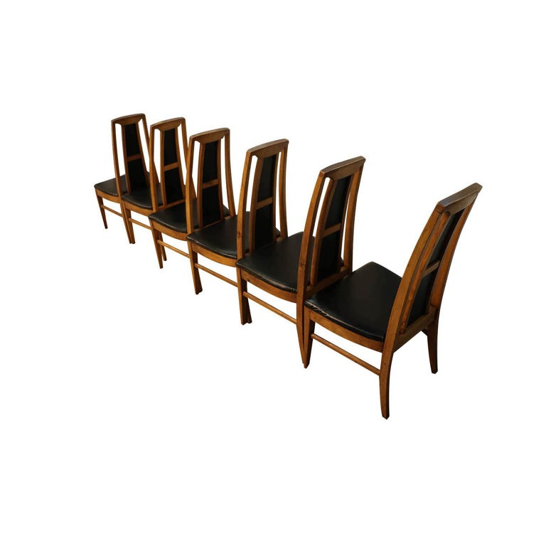 Set of Six Mid-Century Modern High Back Walnut Dining Chairs In Good Condition In Baltimore, MD