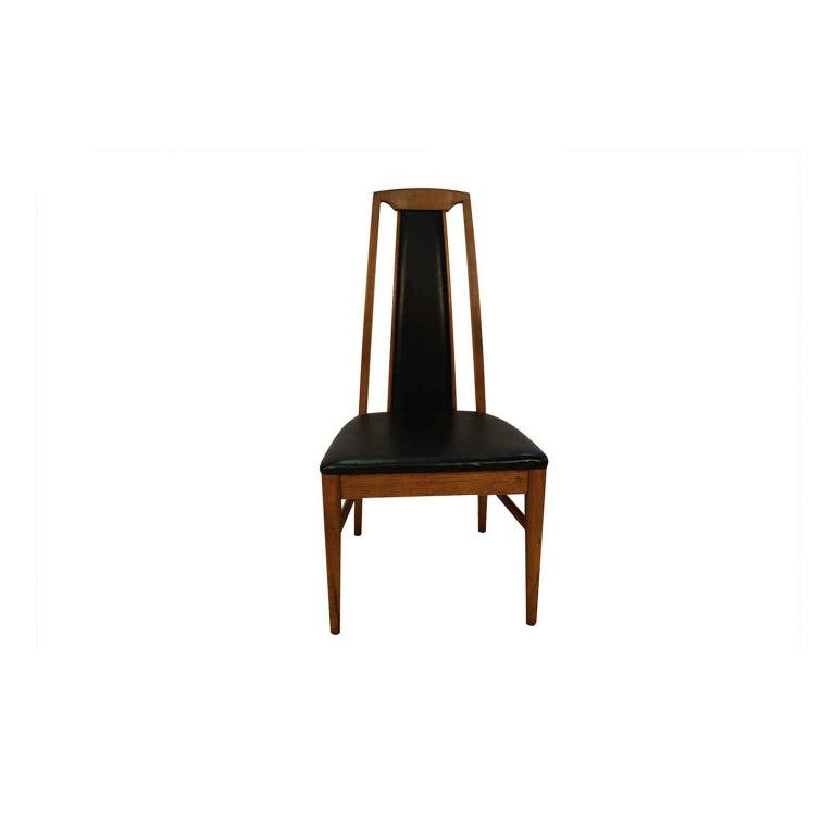 Set of Six Mid-Century Modern High Back Walnut Dining Chairs 1