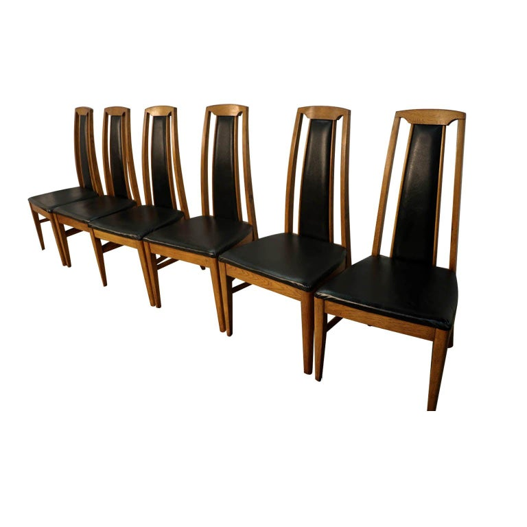 Set of Six Mid-Century Modern High Back Walnut Dining Chairs