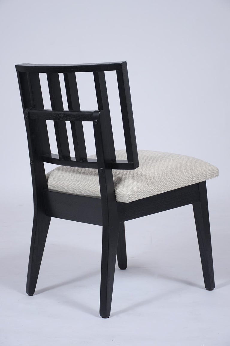 Set of Six Mid-Century Modern Ebonized Dining Chairs For Sale 3