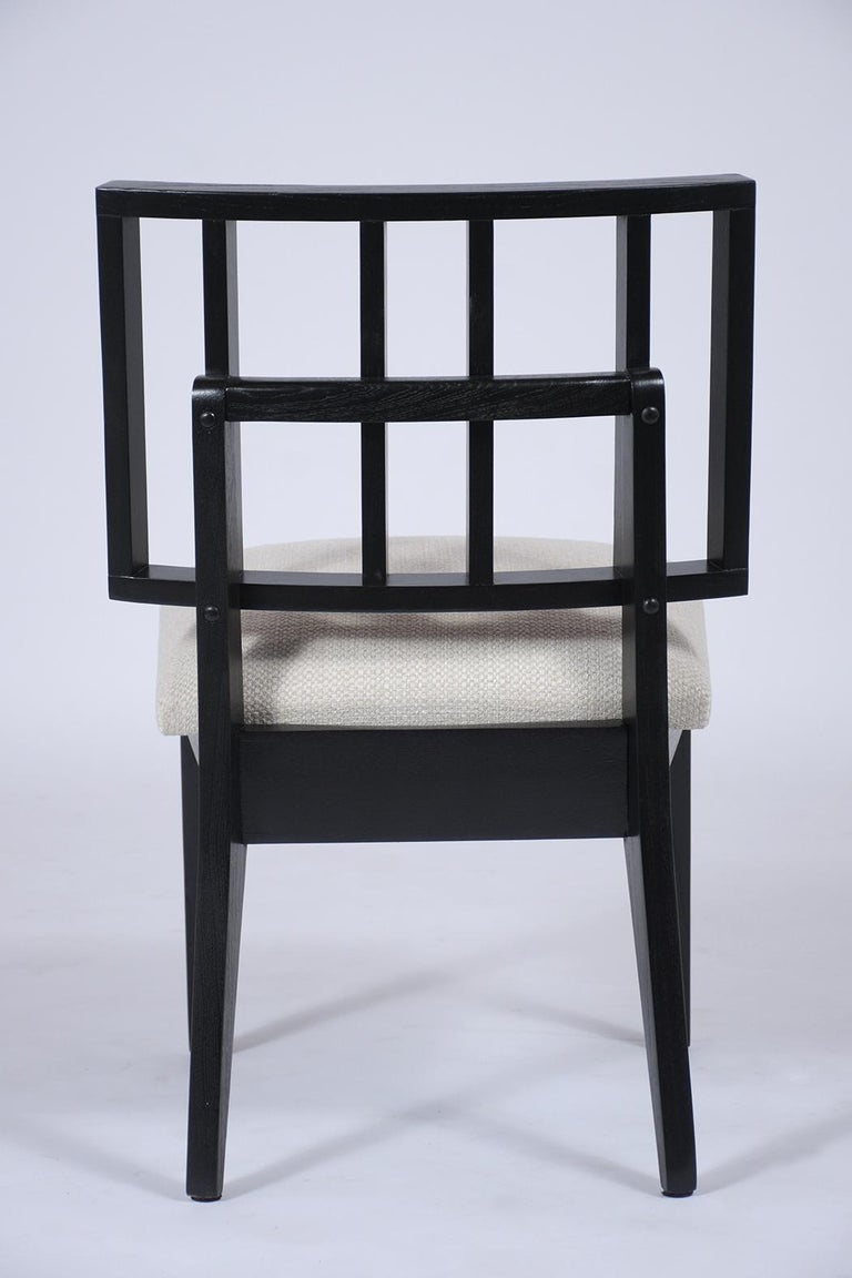 Set of Six Mid-Century Modern Ebonized Dining Chairs For Sale 4