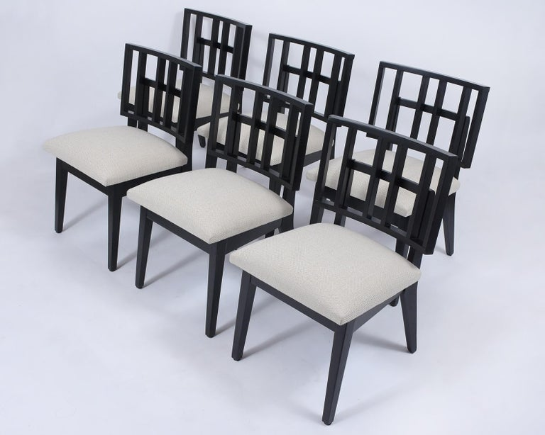 American Set of Six Mid-Century Modern Ebonized Dining Chairs For Sale